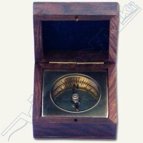 Fa dobozos asztali iránytű, kb. 16x16cm , kb.10cm