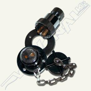 Elektromos csatlakozó, fém házas  (3A)  2 érintkezős