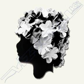 Virágmintás latex úszósapka Fekete-fehér