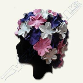 Virágmintás latex úszósapka Lila-fehér pink