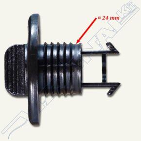 Vízleeresztő, 25mm , 2 csavaros/fekete
